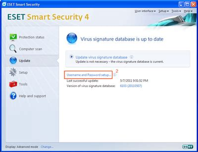 NOD32 Setup File, Username and Password: How to Update NOD32