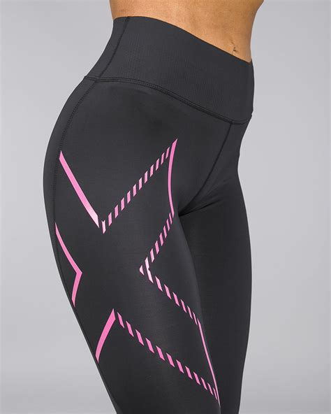 2XU - Bonded Mid-Rise Compression Tights - Black/Fracture
