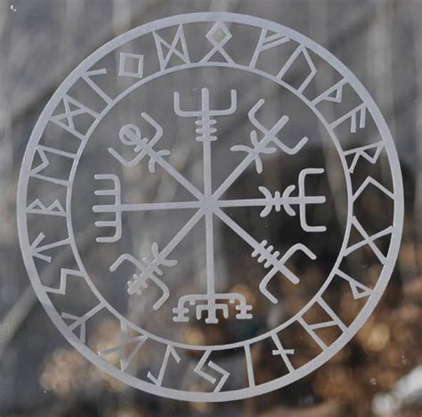 Viking protection runes vegvisir compass talisman etched glass