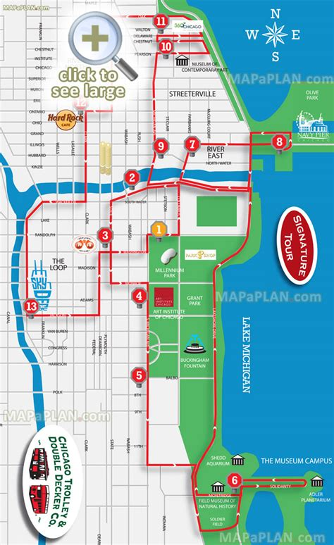 Chicago maps - Top tourist attractions - Free, printable